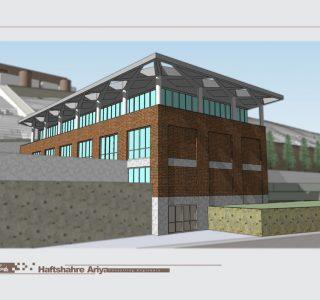 طراحی ساختمان اداری باغ موزه دفاع مقدس خرمآباد - طرح سه بعدی نما