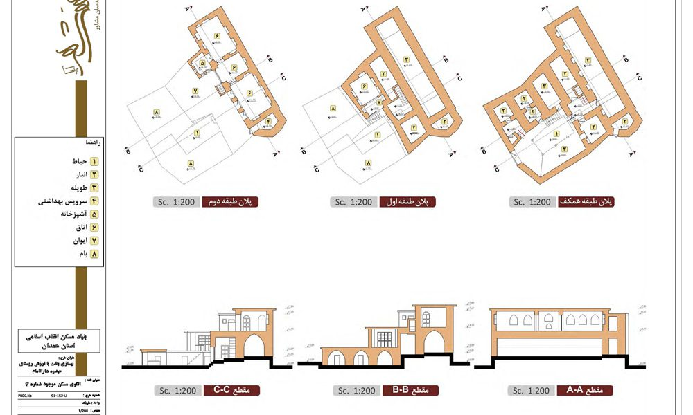طرح بهسازی روستای حیدره دارالامام - نقشه الگوی مسکن موجود