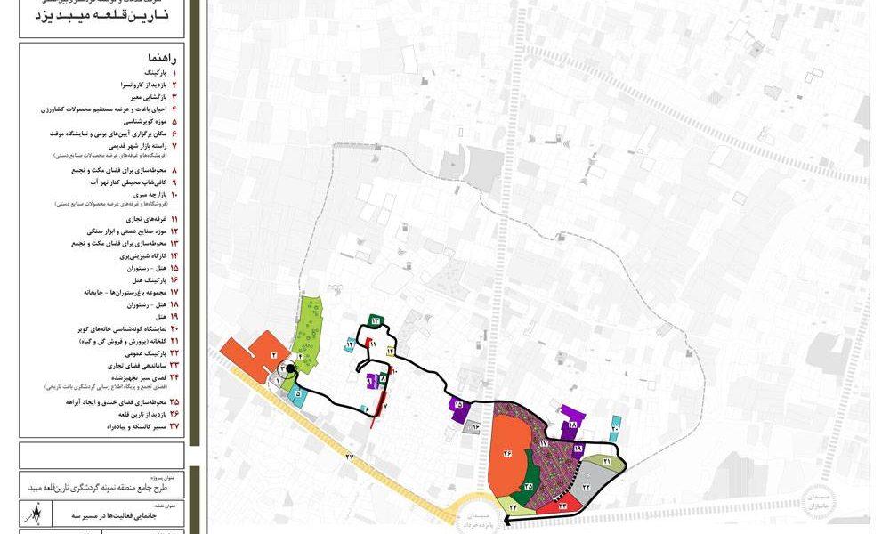 طرح گردشگری میبد - نقشه جانمایی فعالیت ها در مسیر سه