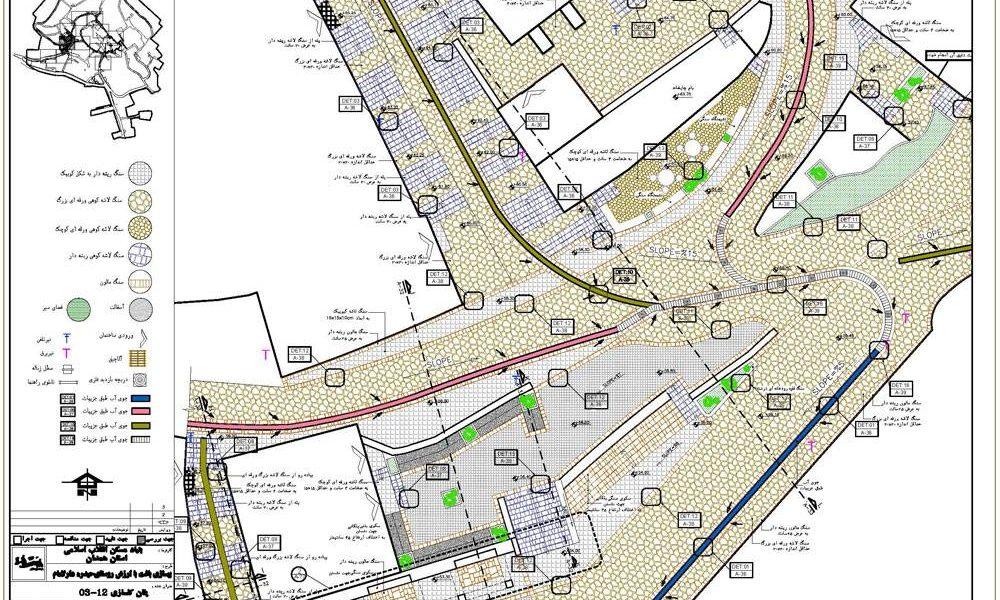 طرح بهسازی روستای حیدره دارالامام - نقشه پلان مرکز محله روستا