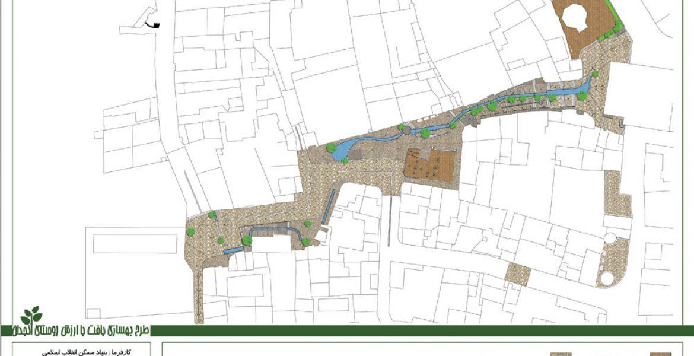 طرح بهسازی بافت با ارزش روستای انجدان - نقشه مصالح کف