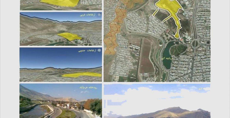 طراحی باغ موزه دفاع مقدس خرم آباد - نقشه دید و منظر به سایت