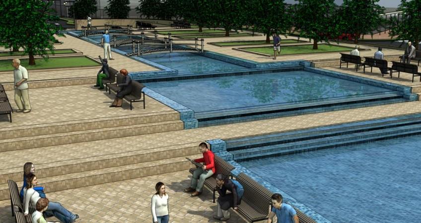 طرح بهسازی و نوسازی بافت فرسوده باقرشهر - طراحی سه بعدی میدان شهری