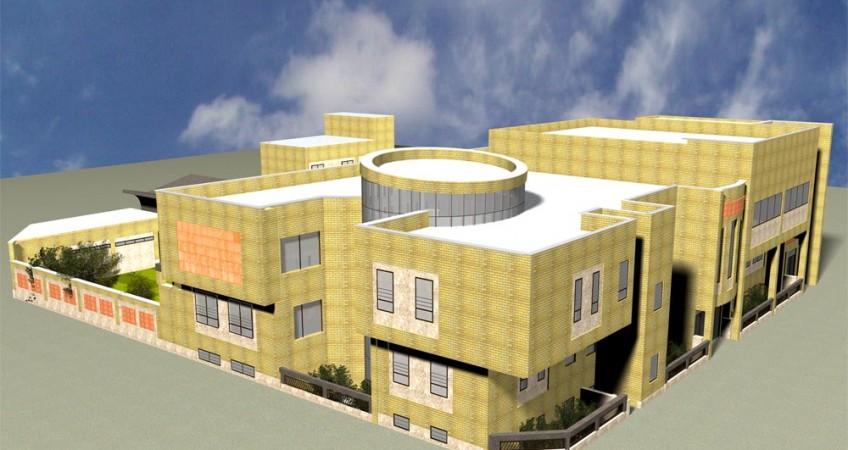 طراحی معماری مدرسه دبستان - طرح سه بعدی