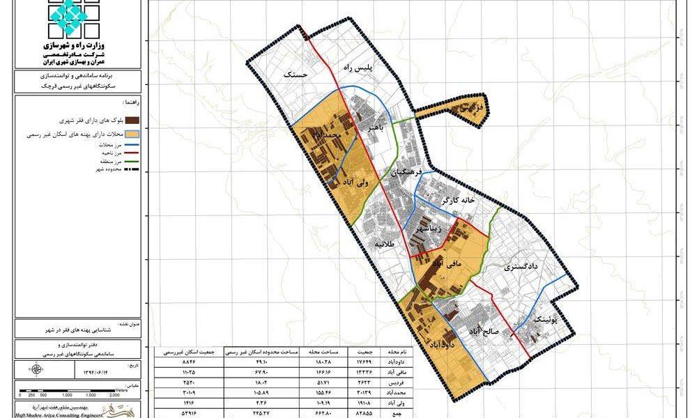 طرح ساماندهی سکونتگاههای غیررسمی و توانمند سازی اجتماعات با تاکید بر بهسازی شهری، شهر قرچک - نقشه شناسایی پهنه های فقر در شهر قرچک