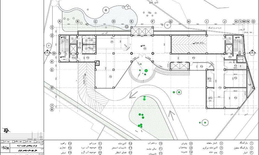 طراحی هتل 5 ستاره تهران - پلان طبقه همکف