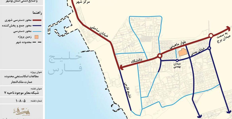 طرح امکان سنجی گردشگری عمارت ملک التجار بوشهر - نقشه شبکه معابر موجود