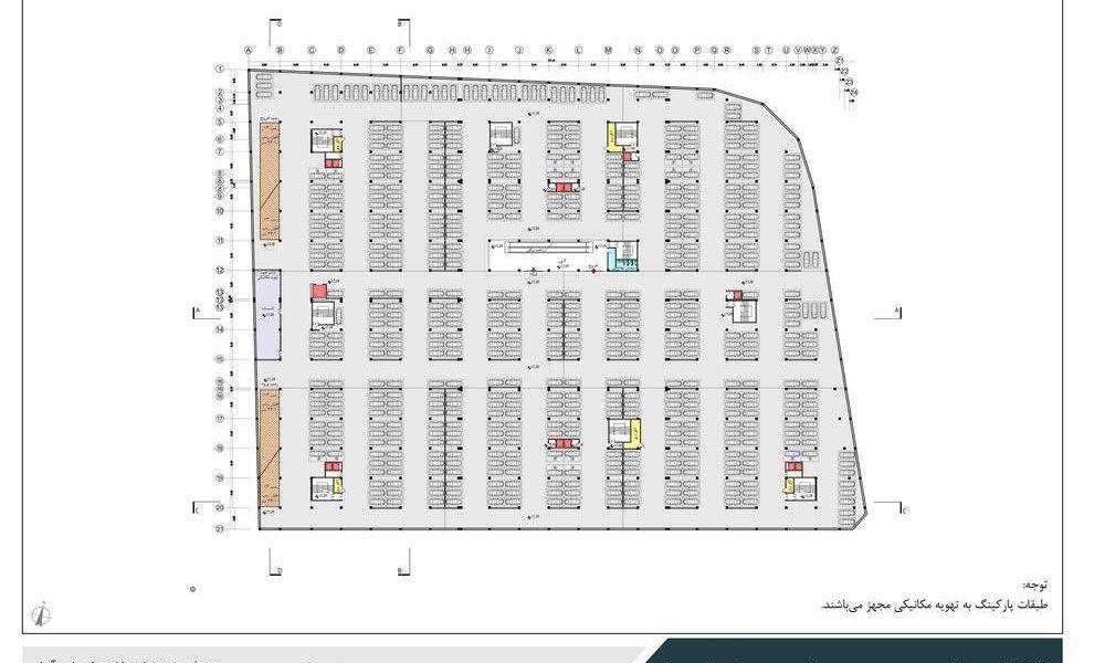 طراحی مجتمع تجاری فرهنگی یافتآباد - نقشه پلان طبقه زیرزمین چهارم