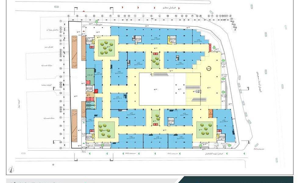طراحی مجتمع تجاری فرهنگی یافتآباد - نقشه پلان طبقه همکف