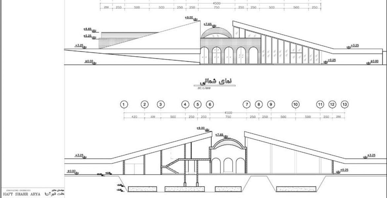 طراحی حسینیه مرکز فرهنگی دفاع مقدس تبریز - مقطع و برش