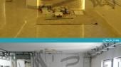 بازسازی واحد مسکونی - اتاق نشیمن و هال - قرنیز، نور مخفی، کناف ، نورپردازی متمرکز، کاغذ دیواری ، رادیاتور ، پنجره یو پی وی سی ، سنگ آنتیک ، دریچه کانال کولر ، جا پرده ای